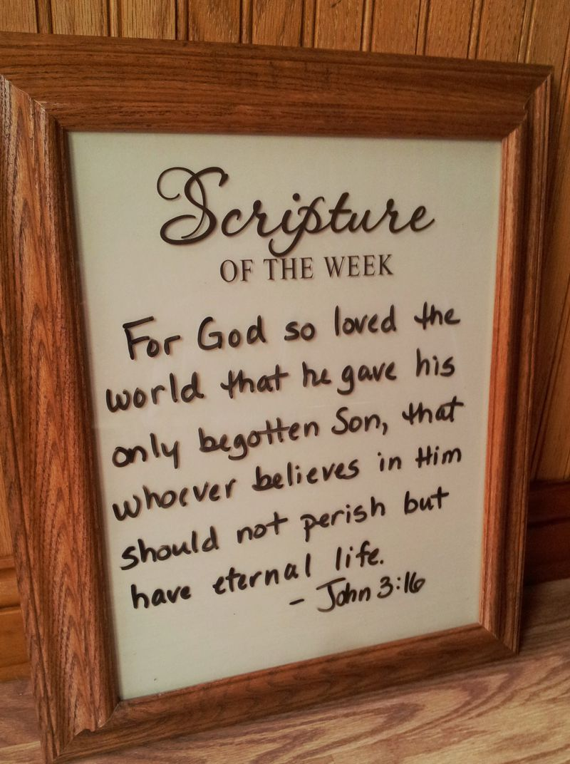 Make Your Own Dry Erase Board Scripture Of The Week